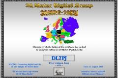 DL7PJ - 30MDG Award Certificate: (30MDG 10-EU)