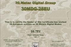 DL7PJ - 30MDG Award Certificate: (30MDG 28-EU)