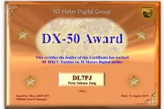 DL7PJ - 30MDG Award Certificate: (30MDG DX-50)