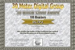 DL7PJ - 30MDG Award Certificate: (30MDGM Silver)